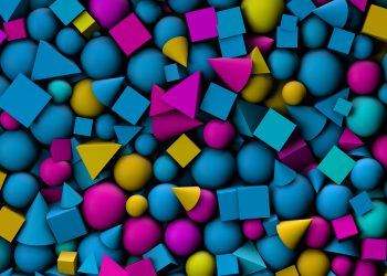 3d illustration texture with geometric shapes, cones, cubes and spheres