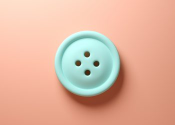 Blue button on pink background 3 d rendering