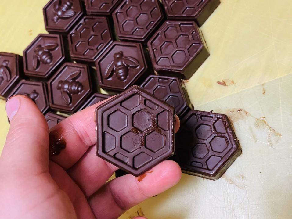 Delicious homemade 3D printed sugar free chocolates shaped as honeycomb
