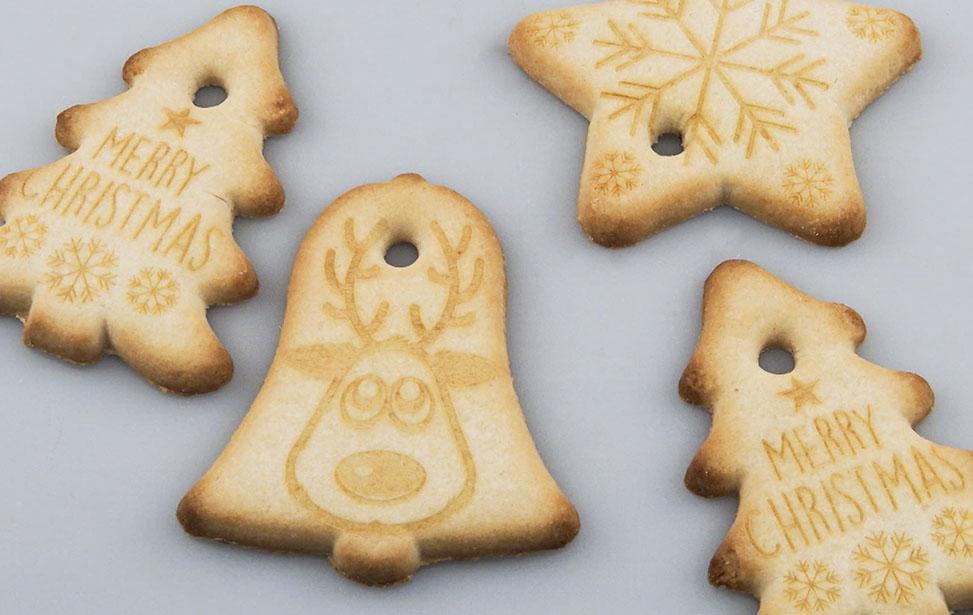 Laser engraved christmas cookies. Photo credit: Epilog Laser