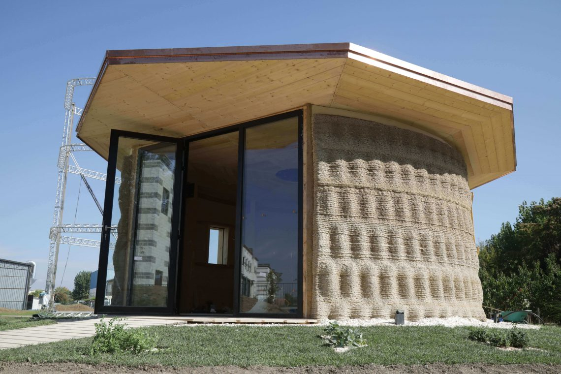 3D printed house, Gaia, located in Italy developed by WASP. Photo curtesy of WASP.