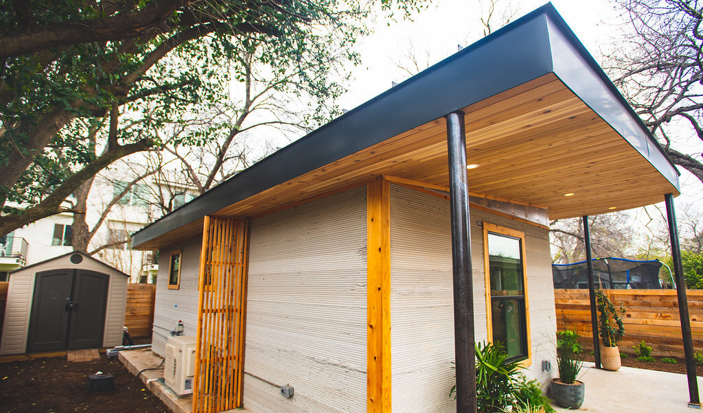 Exterior view of Icon Labs 3D printed house located in Austin Texas.