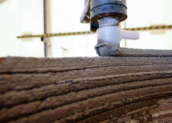 Construction of the BOD, 3D printed office building in Europe developed by cobod. Photo curtesy of cobod.