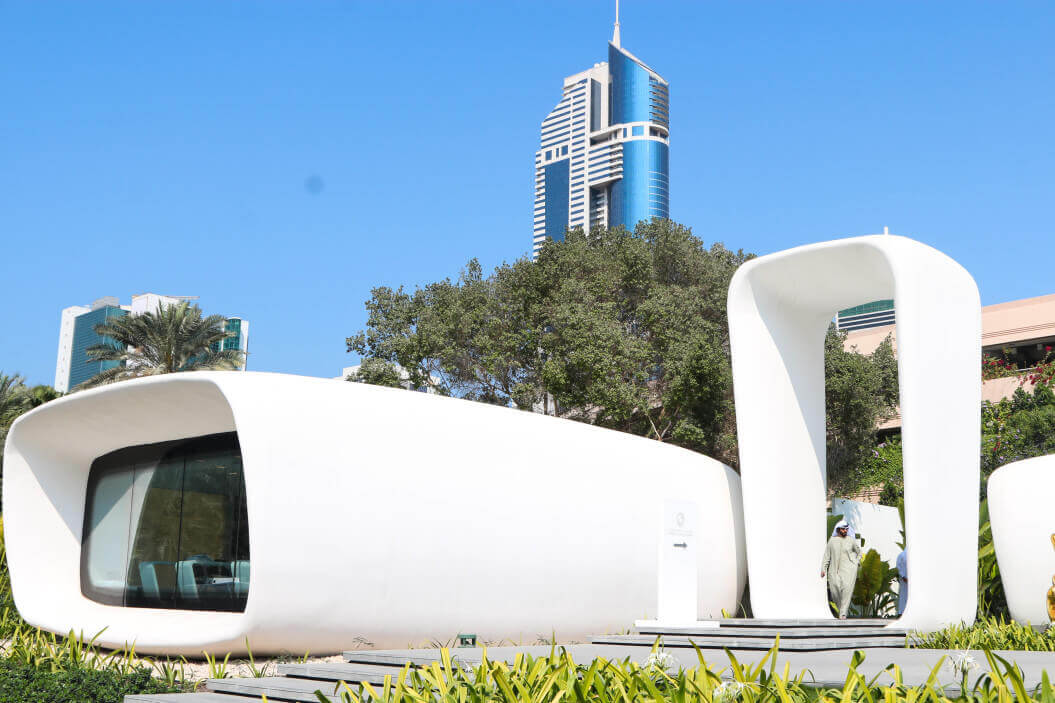 3D printed office building located in Dubai. Built by Winsun.