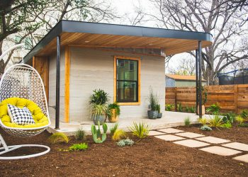 Back yard of the 3D printed house located in Austin Texas.