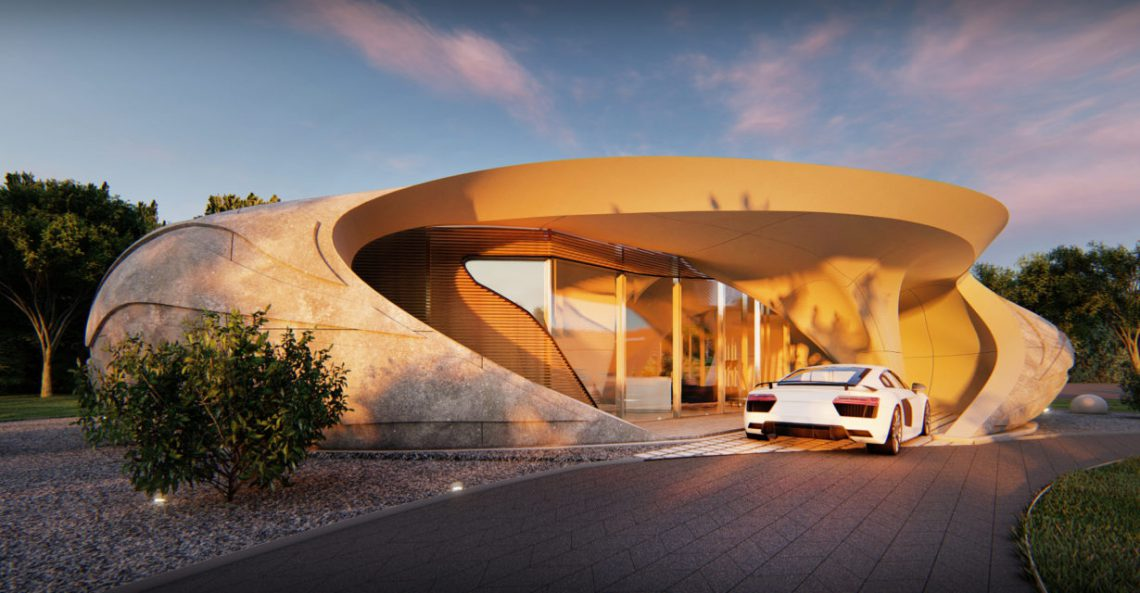 Curved free form 3D printed house by developed by WATG. Photo curtesy of WATG