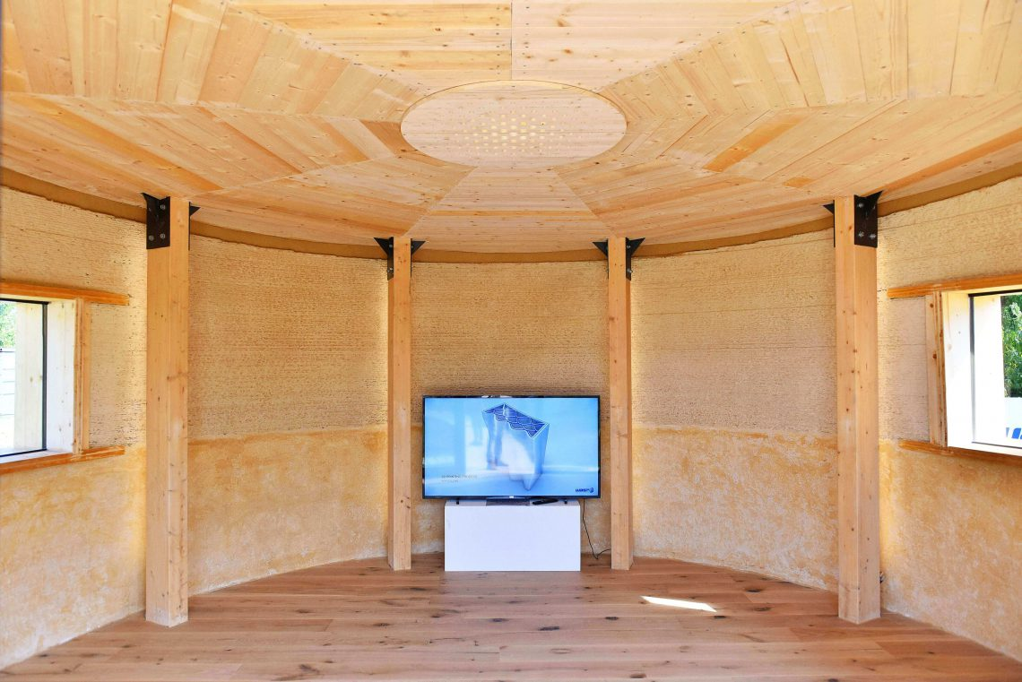 Interior of GAIA 3D printed house located in Italy developed by WASP. Photo curtesy of WASP.