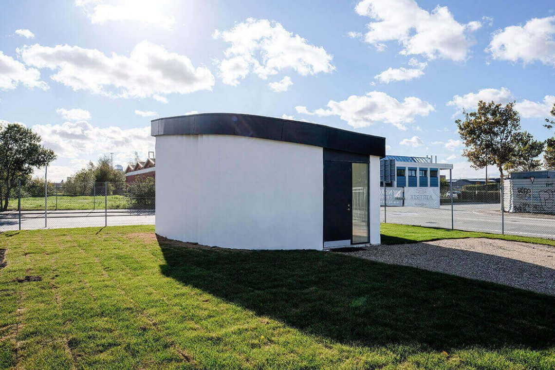 The BOD, 3D printed office building in Copenhagen, Europe developed by cobod. Photo curtesy of cobod.