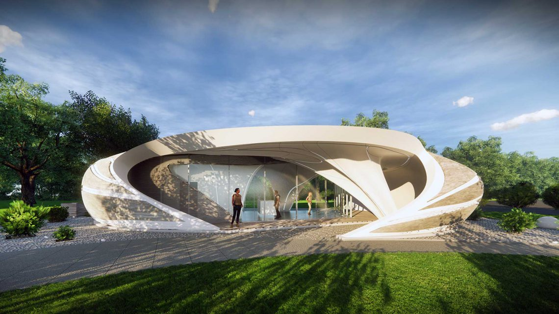 Curve Appeal 3D printed house. Designed by WATG. Photo curtesy of Branch Technology
