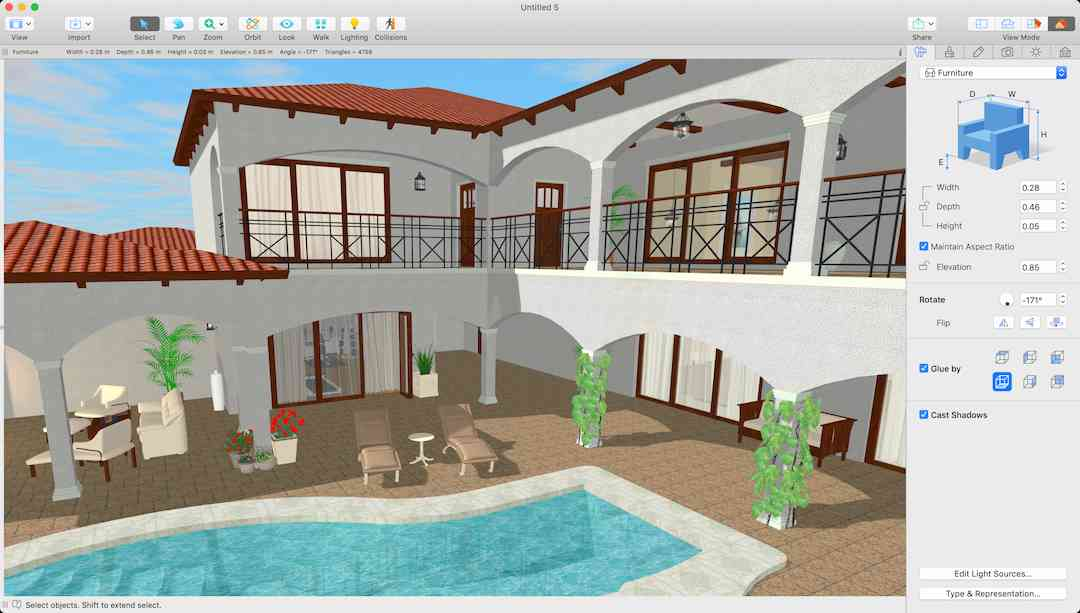 2 Story house with courtyard and pool. Designed using LiveHome3D. Photo credit: LiveHome3D