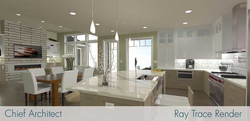 Kitchen designed and rendered with Chief Architect Ray Trace Render. Photo credit: Chief Architect